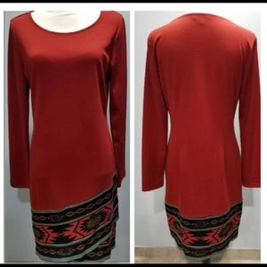 Spense Red Sweater Aztec Dress - 16